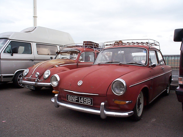 Matt look red Type 3 Notchback with a red Beetle