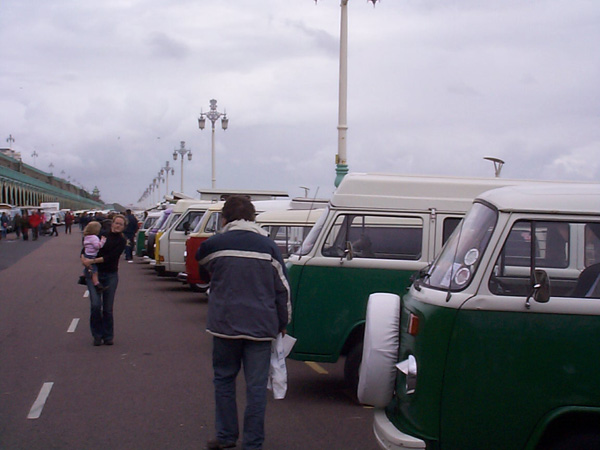 Row of bay window vans