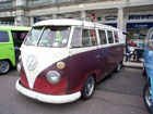 White over red split window van