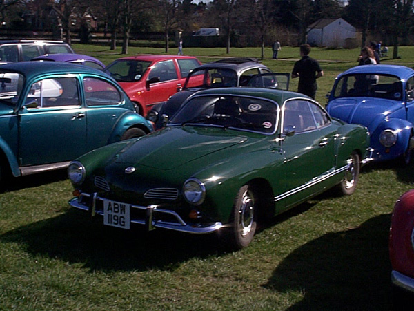 Beautiful dark green Karmann Ghia with towel rail bumpers
