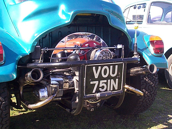 Chrome engine in the Baja bug
